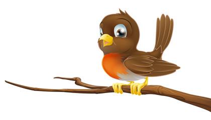 Cute Robin sitting on a tree branch