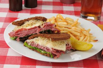 Reuben sandwich with fries