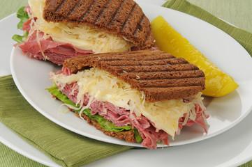 Closeup of a Reuben sandwich
