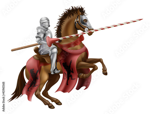 Plexiglas Ridders Knight with lance on horse