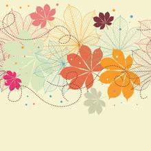 Arrière-plan transparent avec la chute des feuilles d'automne dans un style rétro.