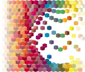 3d rainbow color abstract cube pattern on white