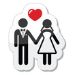 Wedding couple icon as glossy label