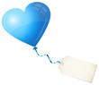 Flying Blue Heart Balloon & Beige Label