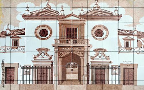 Staande foto Plaza de toros de la Maestranza, azulejo de Sevilla