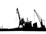 Silhouettes of port constructions