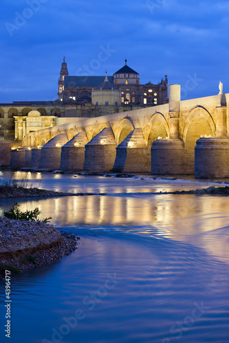 Roman Bridge on Guadalquivir River at Dawn