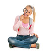 Schoolgirl or Student with Magnifying Glass. Back To School