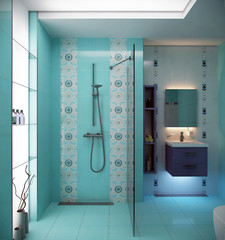blue bathroom design