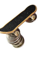 Some coins on fingerboard