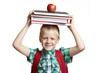 8 year old school boy with backpack on white background