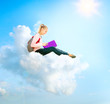 School Girl or Student Sitting on a Cloud and Reading a book