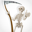 Death-skeleton with a scythe shows that everything is OK