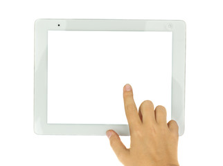 hands  pointing at modern tablet PC