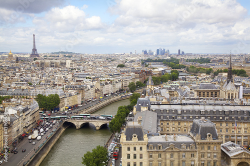 Paris skyline and Seine River, France