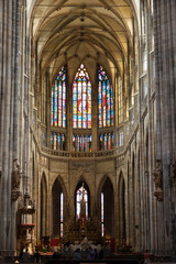 Interior of Saint Vitus Cathedral within the Castle of Prague