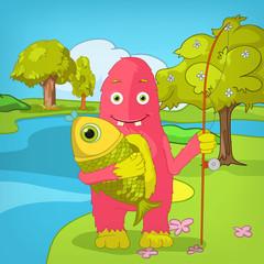 Funny Monster. Fisherman.