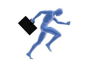 Persona corriendo con maletín