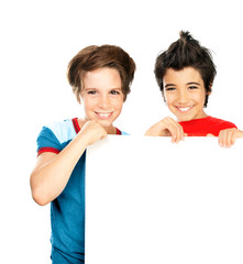 Two happy boys isolated on white background