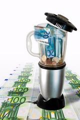 European Money inside Mixer with table plent of money - Euro