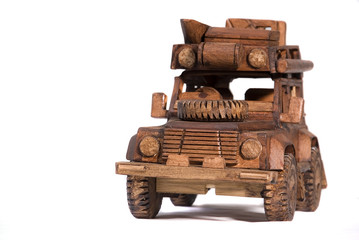 Wooden handcrafted toy vehicle