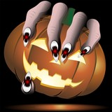 Halloween Scary Hand with Pumpkin-Mano con Zucca-Vector