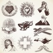 Vintage Religious Vector Pack illustrations, praying hands