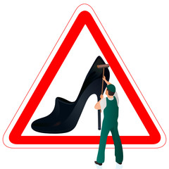 Man in green uniform cleaning the road sign with woman`s shoe