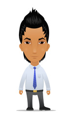 Cartoon businessman with modern  hairstyle