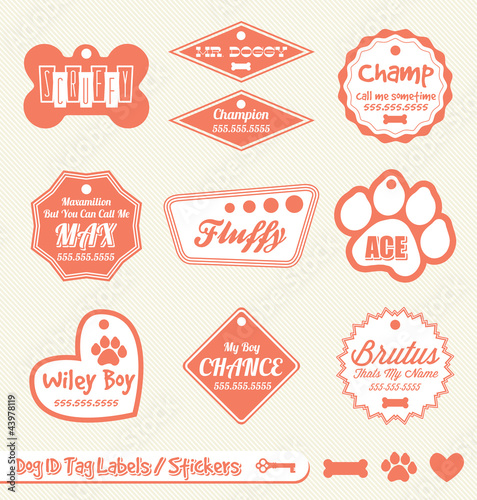 Vector Set: Dog ID Tag Labels and Stickers