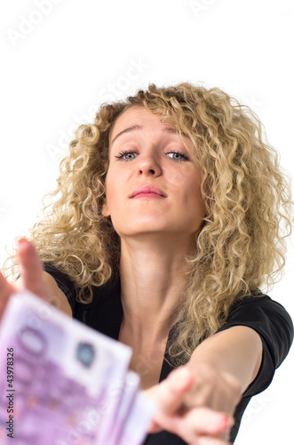 Business woman asks for money