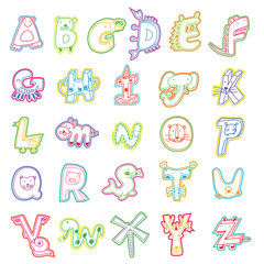 Cartoon alphabet template