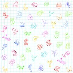 cute animals alphabet background for children
