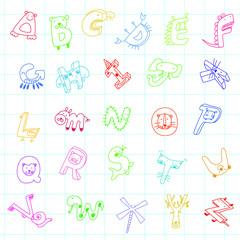 Animal alphabet, color pencil line draft style