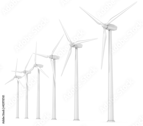 Windmills. 6 X Wind Turbines in a Row. Perspective view.