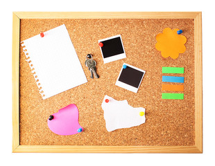 Cork board with notes