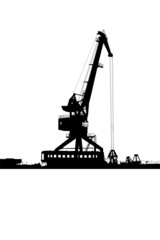 Silhouette of the port crane