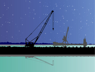 Two port cranes and the ship on background of the star sky