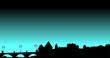 ville sur fond bleu