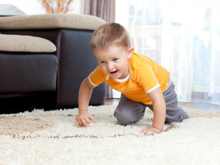 cute cheerful crawling boy