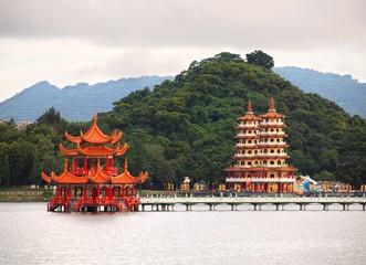 Pavilion and Pagodas at the Kaohsiung Lotus Lake