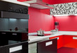 Modern kitchen interior with red decoration