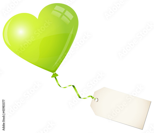 Flying Green Heart Balloon & Beige Label