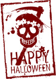 Happy Halloween rubber stamp with grunge skull
