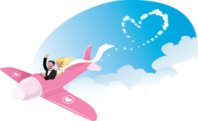 Newlyweds on airplane