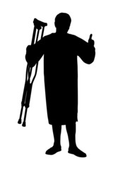 A silhouette of a senior patient holding crutches and giving thu