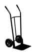 A silhouette of an empty hand truck