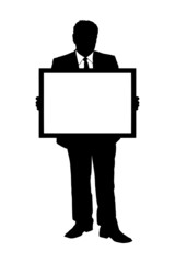 A silhouette of a mature man holding a white panel