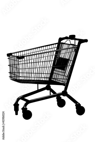 A silhouette of an empty shopping cart
