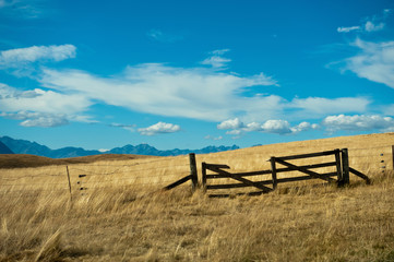 Broken gate in Mackenzie country, New Zealand